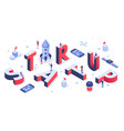 isometric startup lettering company launch vector image