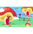 Kids playing near the giant mushroom houses vector image vector image