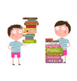 little boy loves reading books vector image vector image