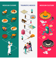 Mexico Touristic Isometric Banners Set vector image