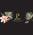 peony palm leaves website header advertising vector image