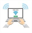People using laptop with wifi vector image vector image