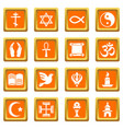 religion icons set orange square vector image vector image