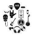 rock music icons set simple style vector image vector image