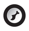 round black white button icon gnawed chicken leg vector image vector image