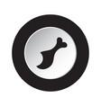 round black white button icon gnawed chicken leg vector image