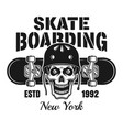 skull in helmet and skateboard emblem vector image vector image