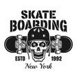 skull in helmet and skateboard emblem vector image vector image