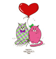valentines greeting card with pair cats vector image
