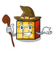 witch rubik cube mascot cartoon vector image