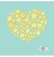 Yellow heart made from buttons Love card Flat desi vector image vector image