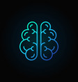 brain line blue icon - intelligence concept vector image