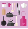 cooking icon set object in pink kitchen chef hat vector image
