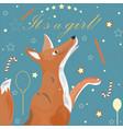baby girl birth announcement cute fox announces vector image