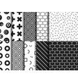 set of trendy various geometric seamless pattern vector image
