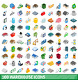 100 warehouse icons set isometric 3d style vector image vector image