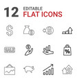 12 market icons vector image vector image