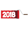 2018 new year is painted with a rolle vector image vector image