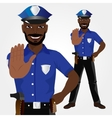 African american policeman showing stop gesture vector image vector image