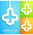 air plane cut out paper on color background vector image
