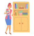 back to school teacher and bookshelf book vector image