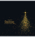 beautiful christmas shiny tree made with golden vector image vector image