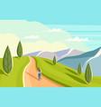 beautiful woman is walking along a mountain ridge vector image