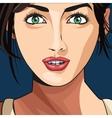 beauty girl face lipstick green eyes blue vector image