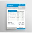 blue and gray professional invoice template design vector image