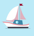 boat with sails in white-pink color isolated on vector image vector image