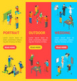 cartoon characters professional photographers and vector image vector image