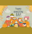 cartoon children celebrating thanksgiving day vector image vector image