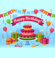cartoon happy birthday card celebration gifts vector image vector image
