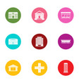 city centre icons set flat style vector image