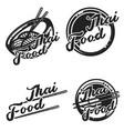 color vintage thai food emblems vector image vector image