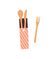 composition zero waste reusable wooden spoon vector image vector image