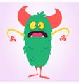 cool cartoon monster green monster troll vector image vector image