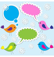 cute birds with speech bubbles vector image vector image