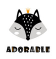 cute cartoon fox face on white scandinavian vector image