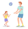 dad and daughter playing outdoors playing active vector image vector image