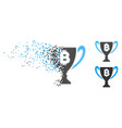 decomposed dotted halftone bitcoin award cup icon vector image vector image