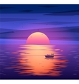Fishing boat sunset background concept vector image