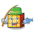 fishing rubik cube mascot cartoon vector image vector image