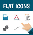 flat icon service set of coupler belt automobile vector image vector image