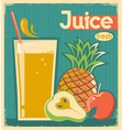 fresh fruit juice vintage card vector image