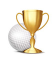 golf award golf ball golden cup for vector image vector image