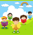 happy children reading books in park vector image vector image