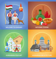 hungarian culture compositions set vector image vector image