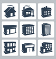 isolated buildings icons set vector image