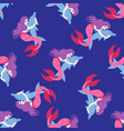 mermeid and dolphin seamless pattern vector image vector image